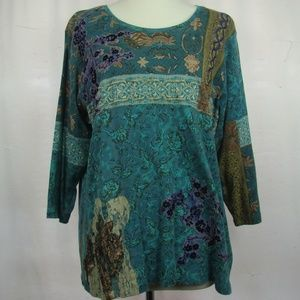 Coldwater Creek 3/4 Sleeve Fancy Embroidered Top